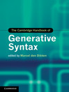 The Cambridge Handbook of Generative Syntax (eBook)
